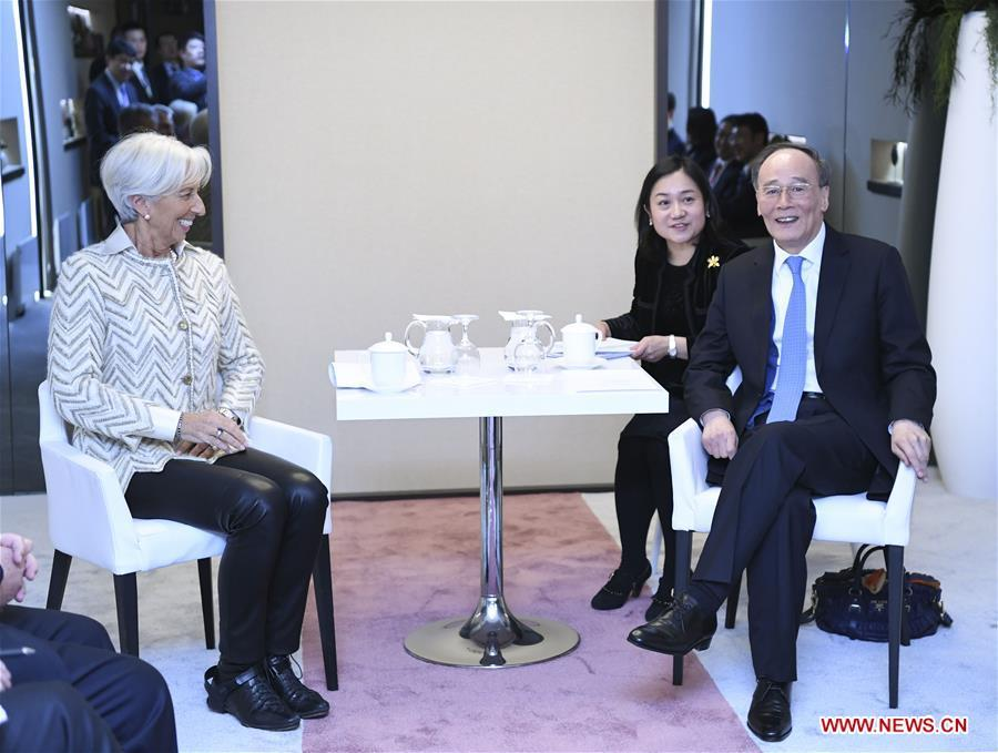 Chinese Vice President Wang Qishan (R) meets with International Monetary Fund (IMF) Managing Director Christine Lagarde during the 2019 Annual Meeting of the World Economic Forum in Davos, Switzerland. Wang delivered a speech titled \
