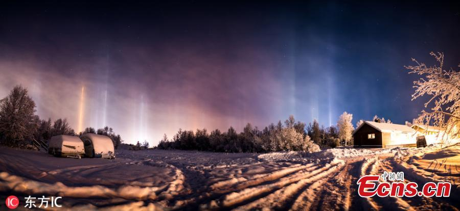 Photographer Mia Stalnacke captures spectacular views of the northern lights in Kiruna, Sweden, as temperatures dropped to minus 20 degrees. (Photo/IC)
