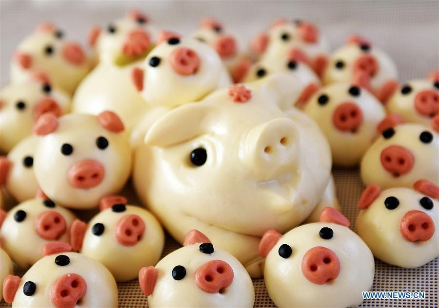 Buns shaped in pigs made by villagers are shown to greet the lunar New Year in Shengjiazhuang Village, Jiaozhou City of east China\'s Shandong Province, Jan. 24, 2019. (Xinhua/Wang Zhaomai)