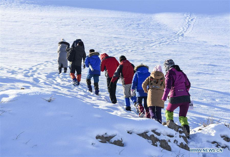 Researchers walk in snow in Gongliu County, northwest China\'s Xinjiang Uygur Autonomous Region, Jan. 18, 2019. A nine-member research team with an average age under 30 from the Xinjiang Institute of Ecology and Geography under the Chinese Academy of Sciences started a research on snow cover on the Tianshan Mountains in Xinjiang. Snow cover on the Tianshan Mountains is an important source of water resources. Snowmelt provides an abundant water supply for river flow in this area and also affects the ecological system of agricultural and animal husbandry production in the downstream oasis. (Xinhua/Bai Jiali)