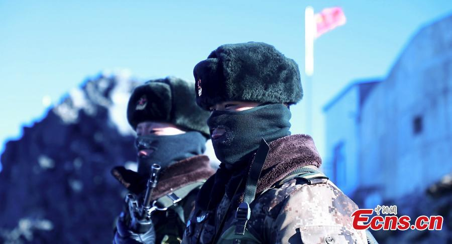 Border soldiers at a frontline station in Tibet Autonomous Region as Spring Festival, China\'s Lunar New Year, and Tibetan New Year approach. (Photo provided to China News Service)