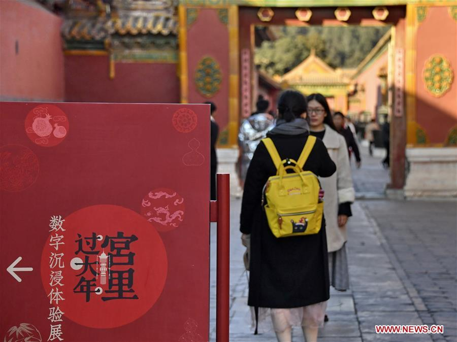 A tourist poses for photos in Palace Museum, also known as the Forbidden City, in Beijing, capital of China, Jan. 25, 2019. The Palace Museum is decorated to celebrate the upcoming Spring Festival , or the Chinese Lunar New Year, which falls on Feb. 5 this year. (Xinhua/Li Xin)