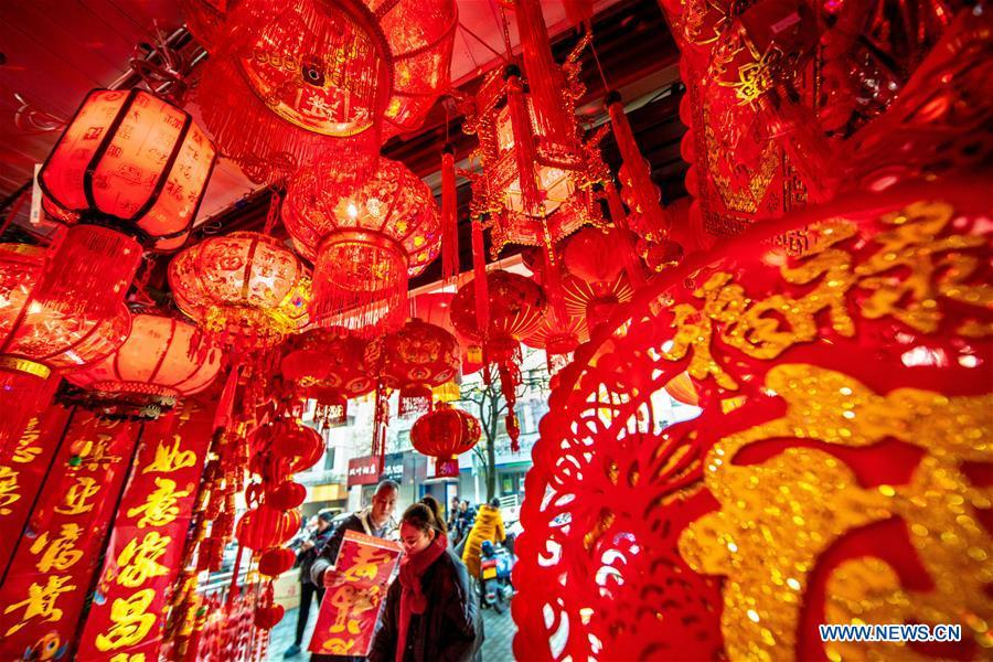 Spring Festival decorations are seen at a shop in Lishui City, east China\'s Zhejiang Province, Jan. 25, 2019. Red decorations are arranged across China to greet the upcoming lunar New Year which will fall on Feb. 5 this year. (Xinhua/Lei Ning)