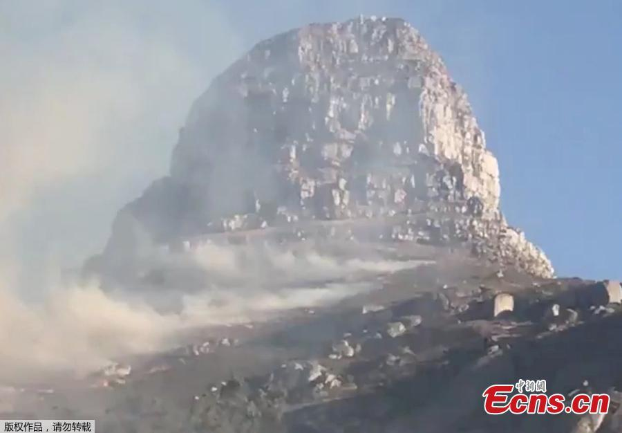 Smoke rises from a burning mountainside in Cape Town, South Africa, January 27, 2019, in this picture grab obtained from social media video.  (Photo/Agencies)