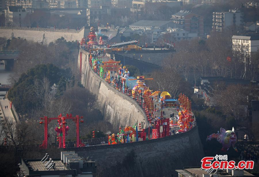 The Ming Dynasty (1368-1644) city wall in Nanjing City, Jiangsu Province is decorated ahead of the Spring Festival, China\'s Lunar New Year, Jan. 27, 2019. (Photo: China News Service/Yang Bo)
