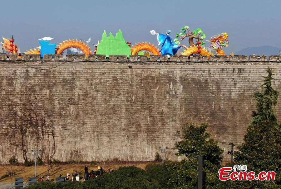 Colored lanterns are installed on the Ming Dynasty (1368-1644) city wall ahead of the Spring Festival, China\'s Lunar New Year, in Nanjing City, Jiangsu Province, Jan. 27, 2019. (Photo: China News Service/Yang Bo)