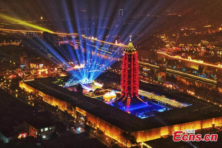Lanterns ignite Nanjing City, Jiangsu Province, ahead of the Spring Festival, China\'s Lunar New Year, Jan. 28, 2019. (Photo: China News Service/Yang Bo)
