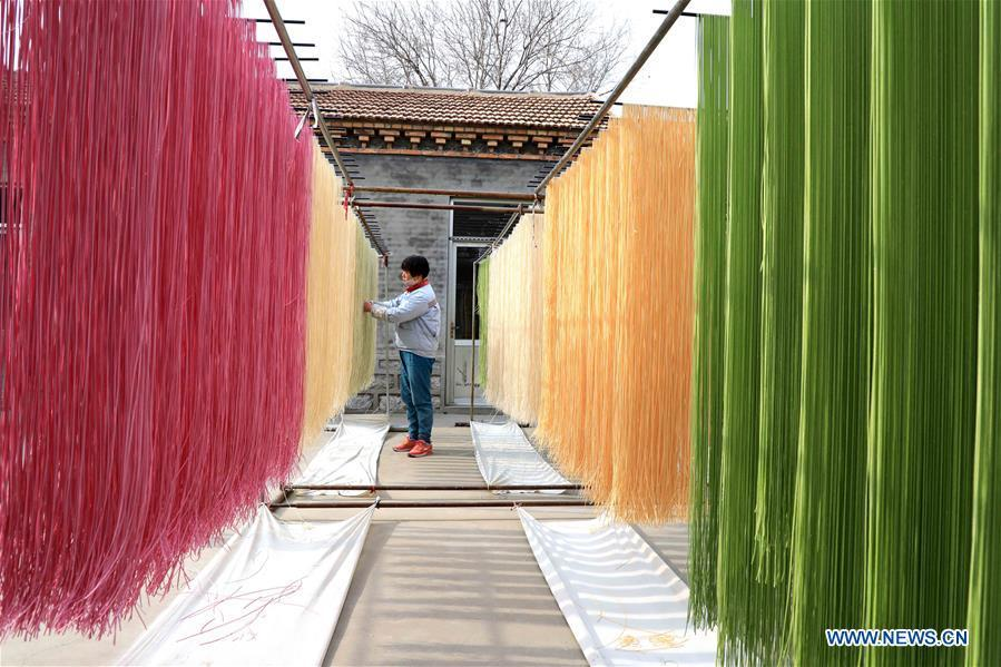 A staff member airs colored noodles at a workshop in Binzhou, east China\'s Shandong Province, Jan. 29, 2019. These noodles are naturally colored using vegetables or fruits such as carrot, spinach and dragon fruit. (Xinhua/Zhang Chunfeng)