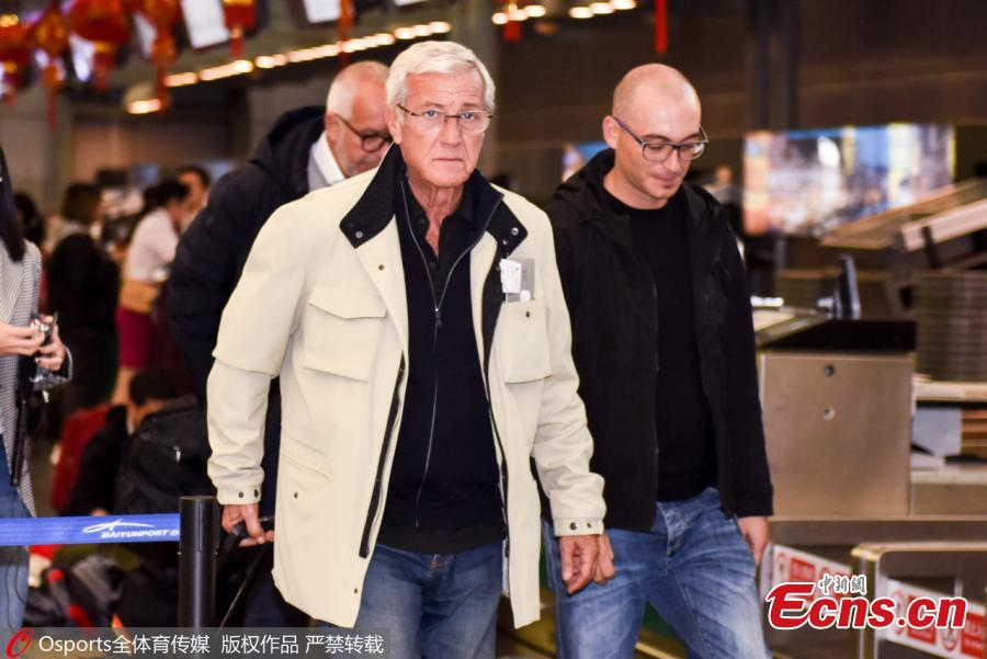 Marcello Lippi, the 70-year-old Italian legendary coach, is seen at Baiyun International Airport in Guangzhou City, Guangdong Province, Jan. 29, 2019. He\'s leaving the country as his contract as China\'s head coach ends after the AFC Asian Cup tour. (Photo/Osports)