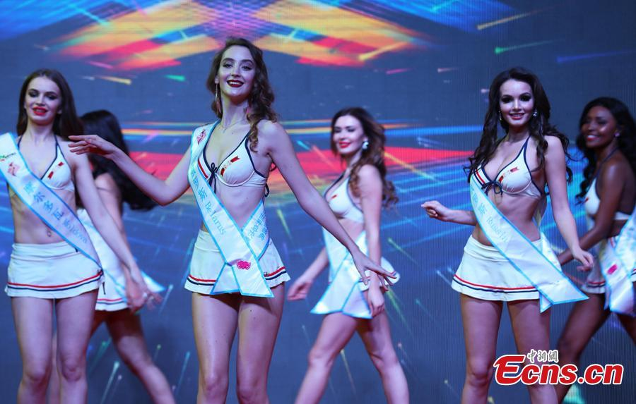 Participants compete in the world final of the 53rd Miss All Nations in Nanjing City, Jiangsu Province, Jan. 29, 2019. The pageant with the theme of eco-tourism included components of evening dress, bikini and national costumes. Participants from Russia, Mexico and Vietnam won the top three places. (Photo: China News Service/Yang Bo)