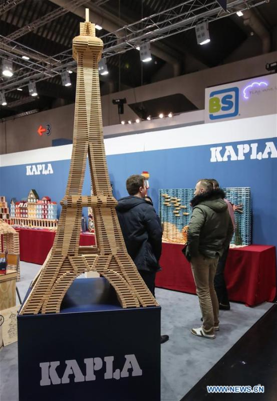 Photo taken on Jan. 30, 2019 shows a view of the booth of Kapla in the Spielwarenmesse exhibition in Nuremberg, Germany. Spielwarenmesse, a leading international fair for toys, hobbies and leisure, kicked off in Nuremberg on Wednesday. Around 2,900 manufacturers from all over the world gathered at the annual trade fair, which will last until Feb. 3 and is expected to attract 71,000 visitors from over 125 nations and regions. (Xinhua/Shan Yuqi)