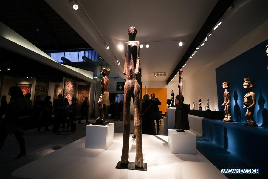 The exhibits from Bernard de Grunne Tribal Fine Arts are seen during the 64th edition of Brafa Art Fair at the Tour & Taxis in Brussels, Belgium, Jan. 28, 2019. A total of 133 Belgian and international galleries presented tens of thousands of art pieces at the fair, which will last till Feb. 3, 2019. Created in 1956, the Brafa Art Fair is one of the world\'s oldest and most prestigious art fairs. (Xinhua/Zheng Huansong)