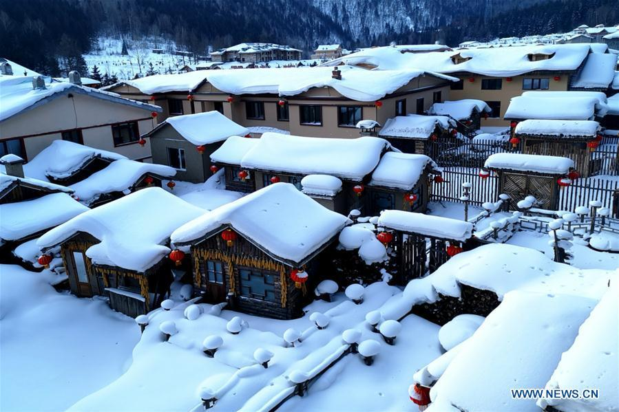 Photo on Jan. 31, 2019 shows the view of Shuangfeng Forest Farm in Mudanjiang City, northeast China\'s Heilongjiang Province. The Shuangfeng Forest Farm witnesses frequent snowfalls and is covered with snow for most of the year. The beautiful snow scenery here attracts many visitors from at home and abroad every year. (Xinhua/Yang Siqi)