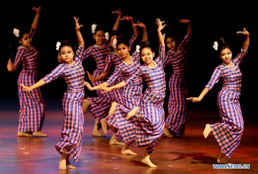 Artists from Myanmar perform at the Gala Show of Paukphaw Carnival for Happy Chinese New Year 2019 in Yangon, Myanmar, on Jan. 30, 2019. (Xinhua/U Aung)