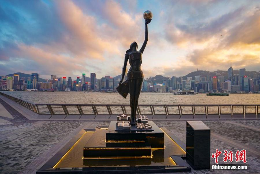 The statue of the Goddess of the Hong Kong Film Awards Association is seen on the renovated Avenue of Stars in Hong Kong. The Avenue of Stars, which pays tribute to those who have helped make Hong Kong the \