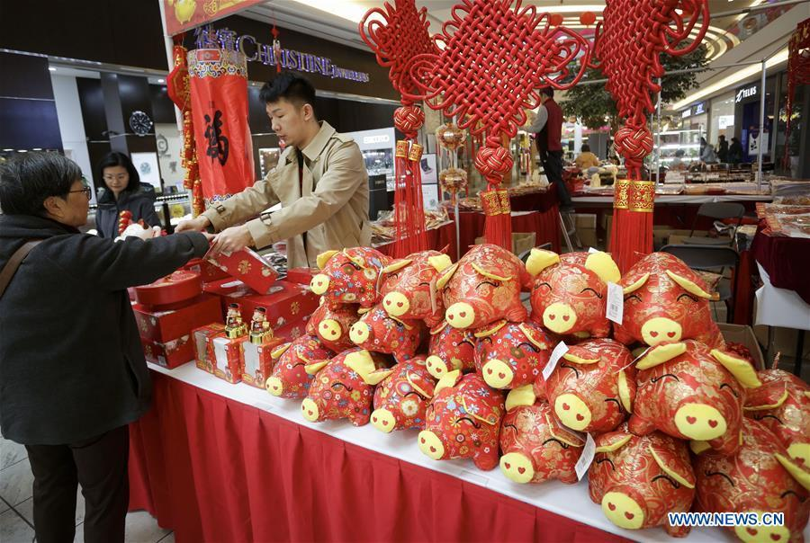 A resident shops for decorations while visiting the 30th Chinese Lunar New Year Flower & Gift Fair in Richmond, Canada, Jan. 30, 2019. The seven-day Chinese Lunar New Year Flower & Gift Fair, west Canada\'s largest indoor Lunar New Year festivity, was opened on Tuesday. (Xinhua /Liang Sen)