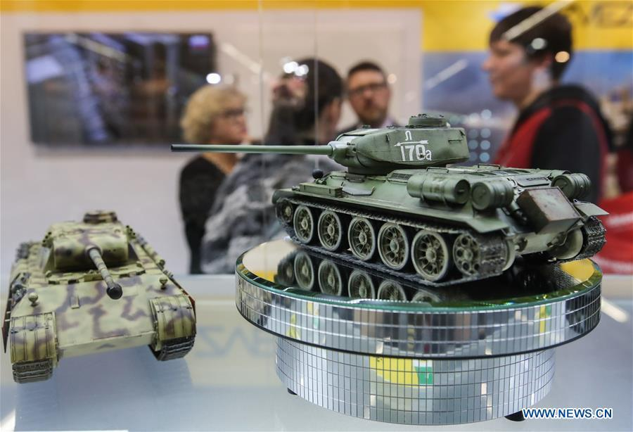 Photo taken on Jan. 30, 2019 shows model tanks displayed at the booth of Zvezda in the Spielwarenmesse exhibition in Nuremberg, Germany. Spielwarenmesse, a leading international fair for toys, hobbies and leisure, kicked off in Nuremberg on Wednesday. Around 2,900 manufacturers from all over the world gathered at the annual trade fair, which will last until Feb. 3 and is expected to attract 71,000 visitors from over 125 nations and regions. (Xinhua/Shan Yuqi)