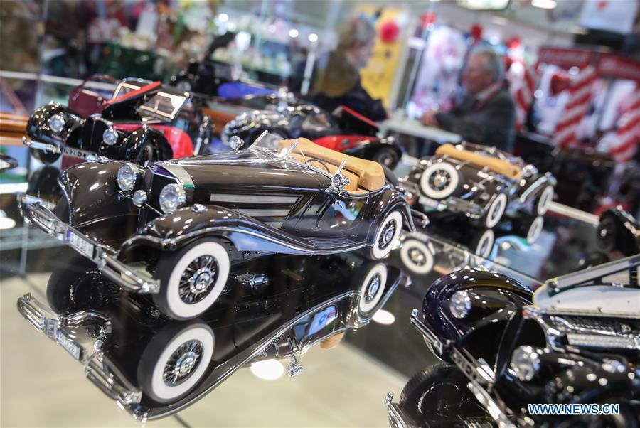Model vehicles are displayed at the booth of Bauer in the Spielwarenmesse exhibition in Nuremberg, Germany, Jan. 30, 2019. Spielwarenmesse, a leading international fair for toys, hobbies and leisure, kicked off in Nuremberg on Wednesday. Around 2,900 manufacturers from all over the world gathered at the annual trade fair, which will last until Feb. 3 and is expected to attract 71,000 visitors from over 125 nations and regions. (Xinhua/Shan Yuqi)