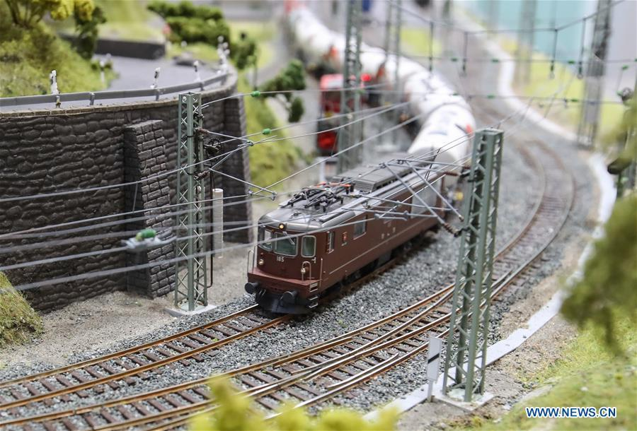 A model train is displayed at the booth of Roco in the Spielwarenmesse exhibition in Nuremberg, Germany, Jan. 30, 2019. Spielwarenmesse, a leading international fair for toys, hobbies and leisure, kicked off in Nuremberg on Wednesday. Around 2,900 manufacturers from all over the world gathered at the annual trade fair, which will last until Feb. 3 and is expected to attract 71,000 visitors from over 125 nations and regions. (Xinhua/Shan Yuqi)