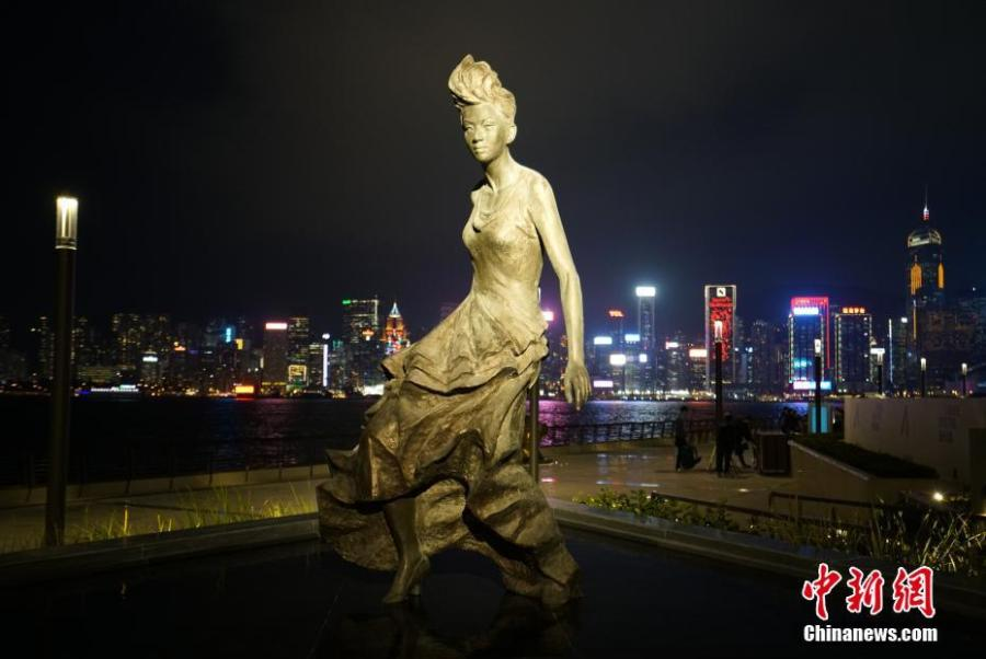 A statue of local diva Anita Mui Yim-fong on the renovated Avenue of Stars in Hong Kong. The Avenue of Stars, which pays tribute to those who have helped make Hong Kong the \