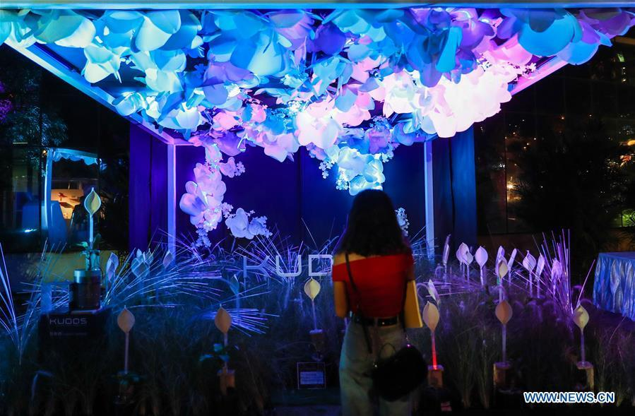 A visitor views Kudos light installation during the Bangkok Design Week 2019 in Bangkok, Thailand, Jan. 30, 2019. The Bangkok Design Week 2019 was held under the theme \