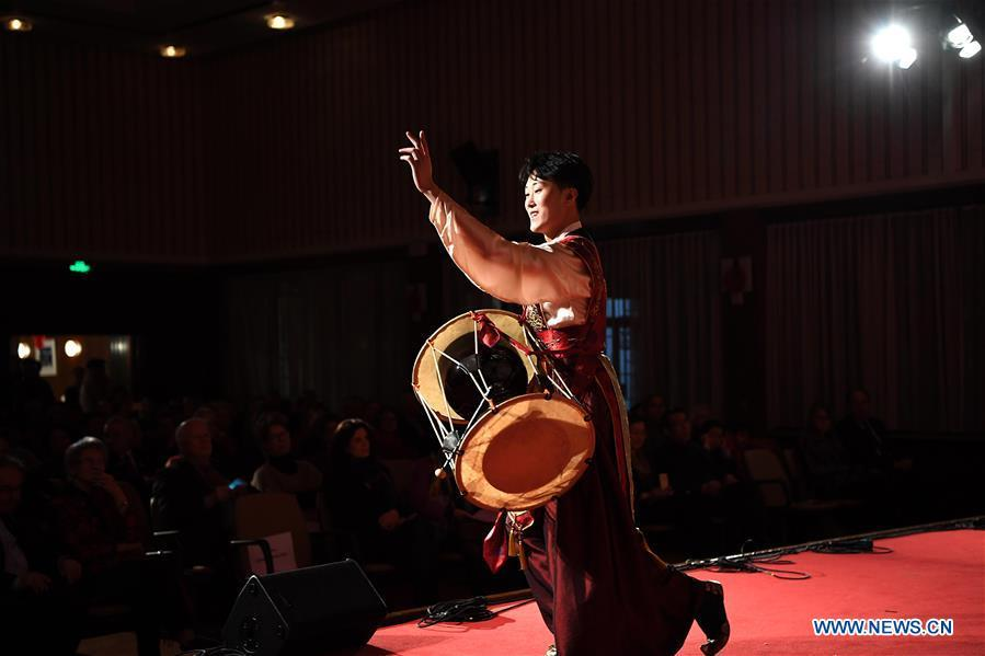A performer dances during a gala held by Confucius Institute Bonn and China Institute of Minority Nationality Dance to celebrate the upcoming Spring Festival, or the Chinese Lunar New Year, in Bonn, Germany, on Jan. 31, 2019. (Xinhua/Lu Yang)