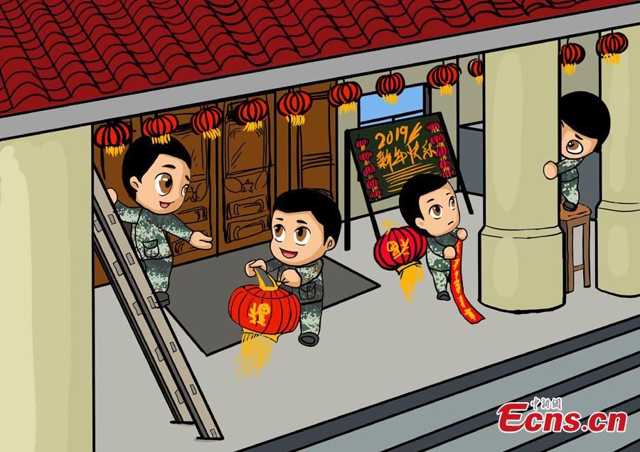 Cartoons created by armed police are on display to celebrate the Spring Festival, China's Lunar New Year on Feb. 5. The drawings featured traditional Chinese culture and customs including dragon dance and making dumplings. (Photo: China News Service/Luo Qiuyang)