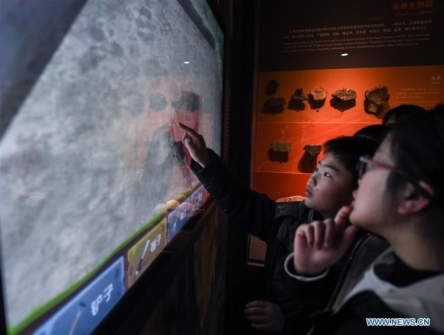 A boy plays a game at the Anji Branch of Zhejiang Museum of Natural History in Anji County, east China\'s Zhejiang Province, Jan. 31, 2019. The museum attracts lots of visitors during the winter vacation. (Xinhua/Xu Yu)