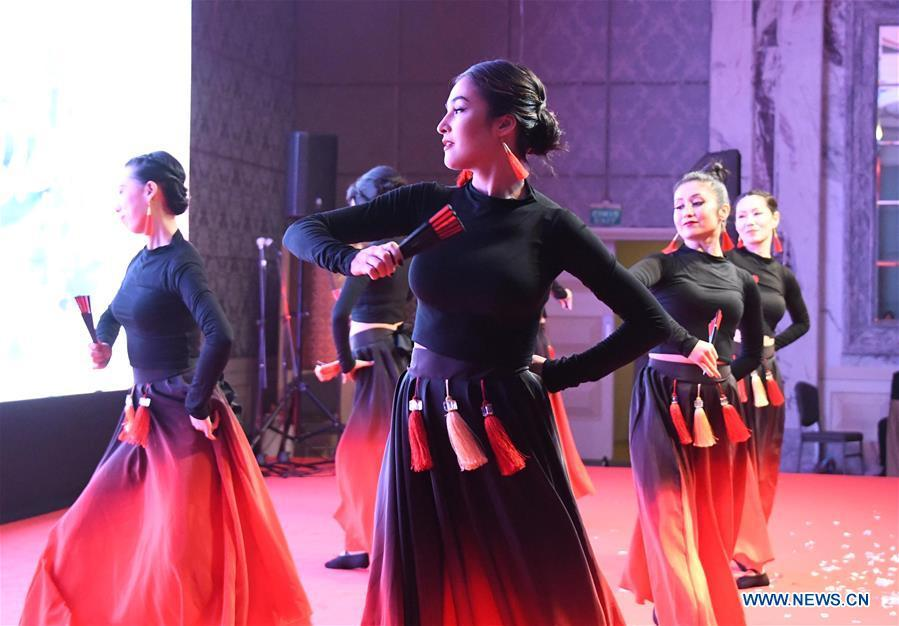 Performers dance during a gala held by the Chinese Consulate-General in Istanbul to greet the upcoming Chinese Lunar New Year in Istanbul, Turkey, Jan. 31, 2019. (Xinhua/Xu Suhui)