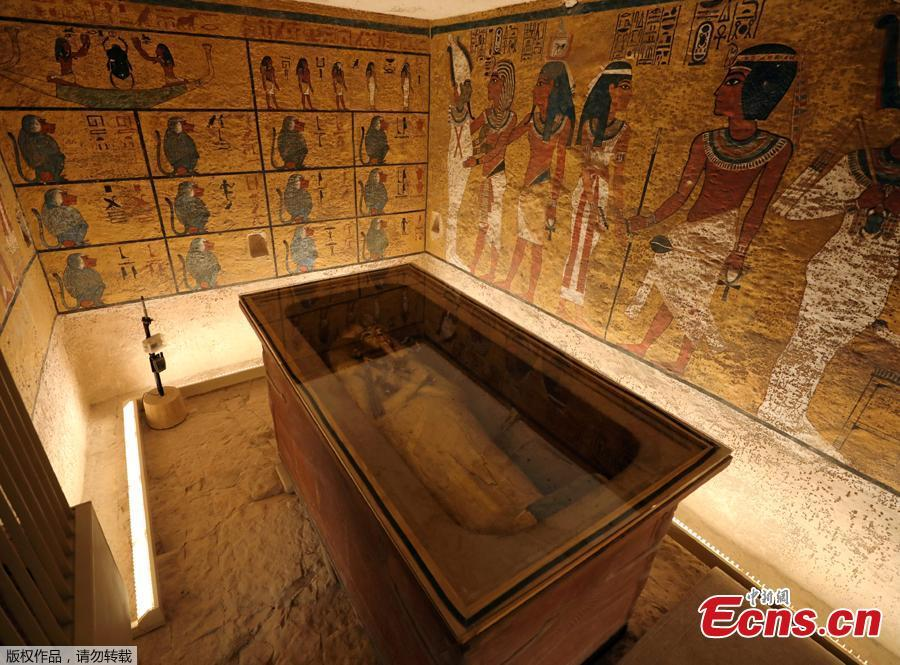 The sarcophagus of boy pharaoh King Tutankhamun is on display in his newly renovated tomb in the Valley of the Kings in Luxor, Egypt January 31, 2019.  A century after the tomb of Tutankhamun was discovered, revealing the mummified boy-king buried more than 3,000 years ago, it has re-opened, brighter and safer thanks to painstaking work to repair damage caused by dust, damp and visitors. (Photo/Agencies)