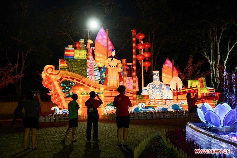 People visit the Chinese New Year Lantern Festival at Dong Zen Temple in Jenjarom of Malaysia, Jan. 31, 2019. The Lantern Festival will run until Feb. 19. (Xinhua/Chong Voon Chung)