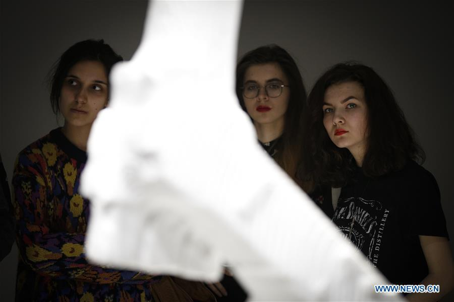 Participants in a workshop look at a robot arm during the third edition of the Night of Ideas in Warsaw, Poland, on Jan. 31, 2019. The sculpture was made by a robot from marble sourced from the Italian region of Carrara. The Night of Ideas is a yearly art show with debates and workshops held at the Center for Contemporary Art in Ujazdow Castle and organized by the French Institute. (Xinhua/Jaap Arriens)