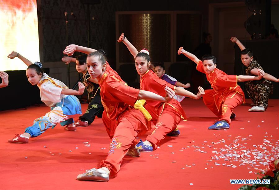 Martial arts fans perform Chinese Kung Fu during a gala held by the Chinese Consulate-General in Istanbul to greet the upcoming Chinese Lunar New Year in Istanbul, Turkey, Jan. 31, 2019. (Xinhua/Xu Suhui)