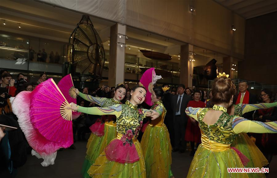 Chinese dancers perform during celebrations of the Chinese Lunar New Year at the Science Museum in London, Britain on Jan. 30, 2019. With Chinese folk music, Kongfu performance, and lion and dragon dances, the Science Museum in London was brimming with pleasure Wednesday night. Around 5,000 visitors joined the China Lates programs in the museum to celebrate the Chinese Lunar New Year, which falls on Feb. 5. (Xinhua/Han Yan)