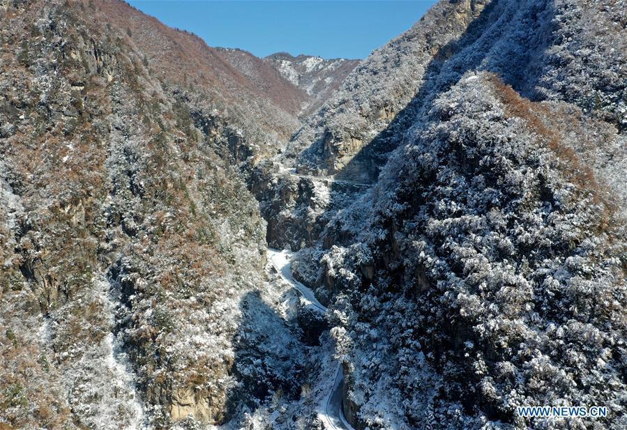 Aerial photo taken on Feb. 1, 2019 shows the snow scenery near Dasanggou Village of Lushi County, central China\'s Henan Province. (Xinhua/Li Jianan)