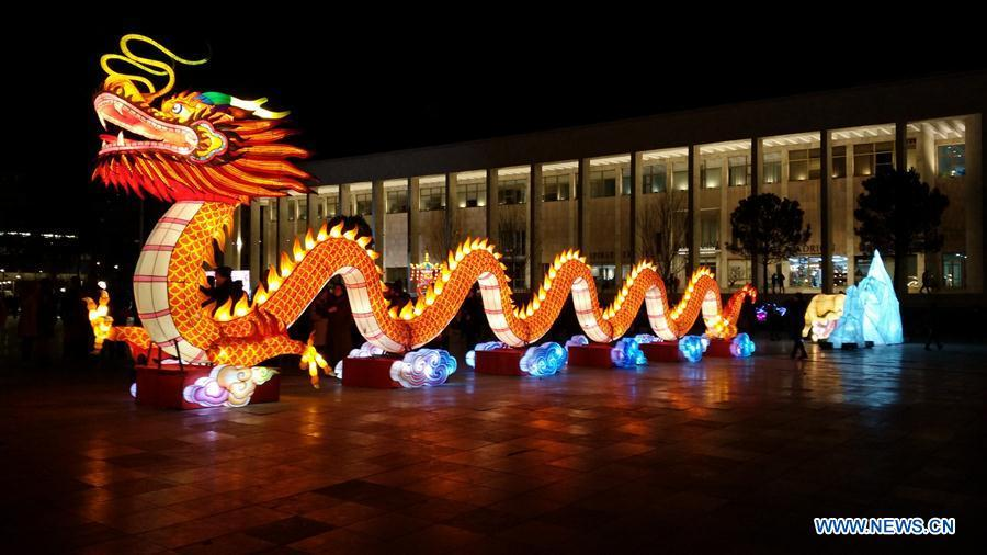A Chinese dragon-shaped lantern is seen at the Chinese Lantern Festival in Tirana, capital of Albania, on Feb. 1, 2019. Albania joined the celebration of the Chinese New Year, with a ceremony marking the opening of \