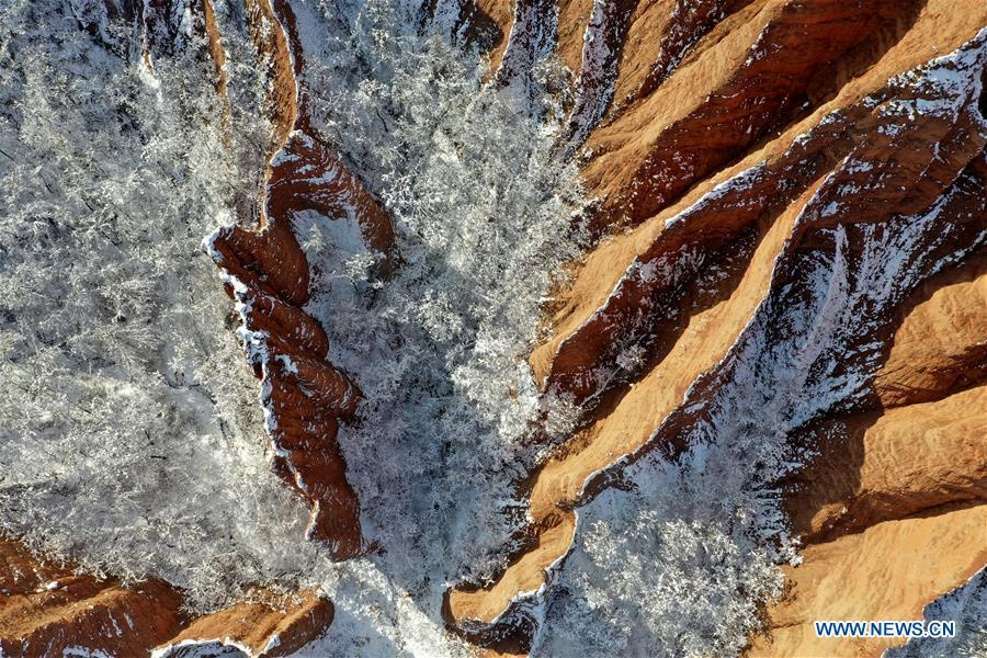 Aerial photo taken on Feb. 1, 2019 shows the snow-covered Hongshi (Red Rock) Gorge in Miaogou Village of Lushi County, central China\'s Henan Province. (Xinhua/Li Jianan)