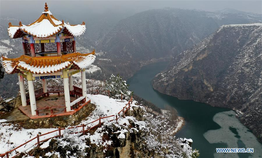 Aerial photo taken on Jan. 31, 2019 shows the snow scenery of the Shuanglongwan scenic area in Lushi County, central China\'s Henan Province. (Xinhua/Li Jianan)
