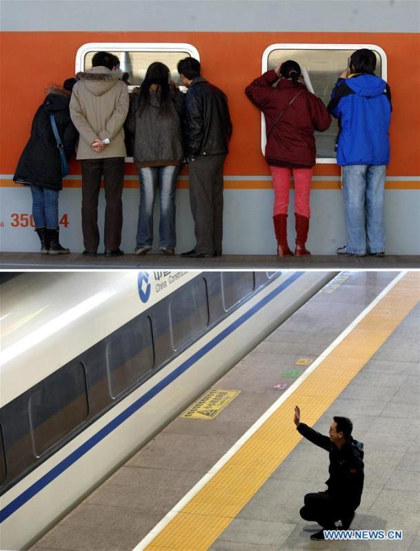 This combo photo shows people peeking through train windows as they see off friends and relatives at the Beijing Railway Station in Beijing, capital of China, Feb. 3, 2007 (top, photo taken by Li Wen); and a man waving goodbye to his family members who are aboard a departing train at the Shijiazhuang Railway Station in Shijiazhuang, north China\'s Hebei Province, Jan. 21, 2019 (bottom, photo taken by Liang Zidong). (Xinhua)
