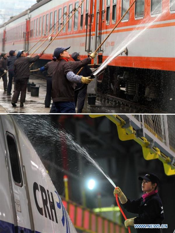 This combo photo shows cleaners washing a train at the end of the Spring Festival travel season at the Guiyang Railway Station in Guiyang, southwest China\'s Guizhou Province, March 5, 2005 (top, photo taken by Wu Dongjun); and a cleaner washing a bullet train at a depot in Wuhan, central China\'s Hubei Province, early on Feb. 10, 2011 (bottom, photo taken by Cheng Min). (Xinhua)