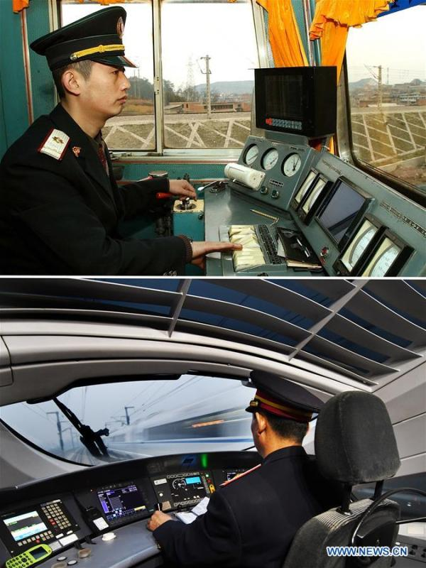 This combo photo shows train driver Zhang Xin working in a locomotive in southwest China\'s Guizhou Province, Feb. 5, 2004 (top, photo taken by Hou Shaohua); and bullet train driver Zhou Li working during a mission on the Beijing-Tianjin high-speed railway in north China, Jan. 25, 2017 (bottom, photo taken by Yang Baosen). (Xinhua)