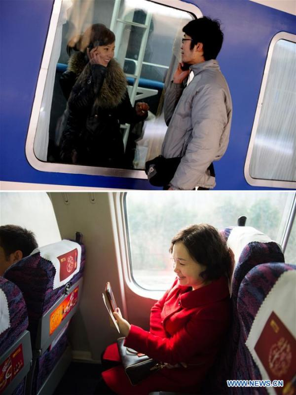 This combo photo shows a couple making a farewell phone call across a train window at the Zhengzhou Railway Station in Zhengzhou, central China\'s Henan Province, Jan. 23, 2009 (top, photo taken by Zhu Xiang); and a passenger having a video chat with a friend using 4G network aboard a bullet train which travels from Hefei, east China\'s Anhui Province to Jiangshan, east China\'s Zhejiang Province, Feb. 4, 2015 (bottom, photo taken by Du Yu). (Xinhua)