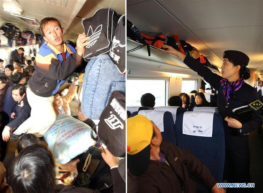 This combo photo shows passengers arranging their luggage in carriage 11 of the train L28 which travels from Fuzhou in southeast China\'s Fujian Province to southwest China\'s Chongqing Municipality, Jan. 23, 2003 (left, photo taken by Jiang Kehong); and train conductor Jiang Fei checking the luggage rack aboard a bullet train on the Wuhan-Guangzhou high-speed railway, Jan. 30, 2010 (right, photo taken by Li Mingfang). (Xinhua)