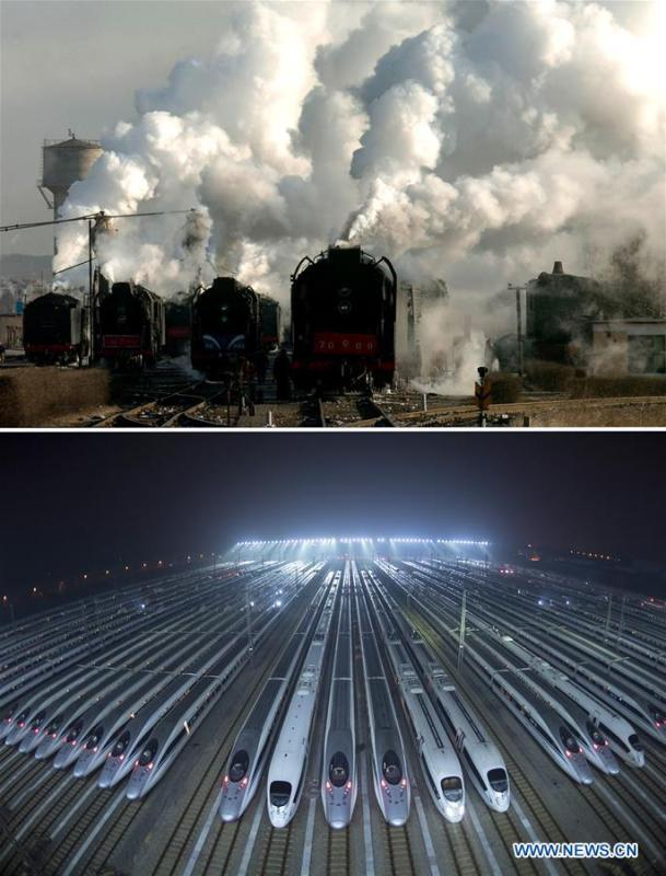 This combo photo shows old-style steam locomotives kept in extended service on the Jining-Tongliao railway in north China\'s Inner Mongolia Autonomous Region, Dec. 7, 2005 (top, photo taken by Zhang Ling); and bullet trains waiting for maintenance at a train depot in Wuhan, central China\'s Hubei Province, Jan. 20, 2019 (bottom, photo taken by Xiong Qi). (Xinhua)