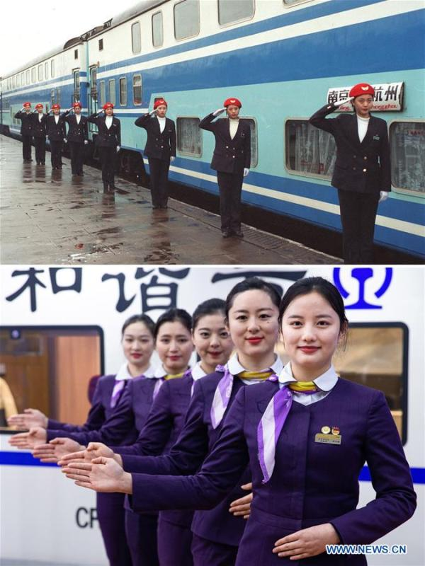 This combo photo shows attendants getting ready to work aboard the train K1/6 during the Spring Festival travel rush in Nanjing, east China\'s Jiangsu Province in January of 1998 (top, photo taken by Gao Meiji); and bullet train stewards taking part in an etiquette training in Nanjing, east China\'s Jiangsu Province, Jan. 17, 2019 (bottom, photo taken by Su Yang). (Xinhua)