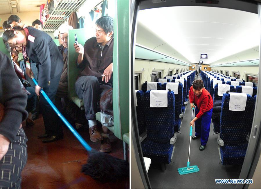 This combo photo shows a train attendant mopping in a train carriage that travels from Urumqi to Kashgar in northwest China\'s Xinjiang Uygur Autonomous Region, March 10, 2005 (left, photo taken by Sadat); and a worker cleaning a bullet train carriage at a depot in Wuhan, central China\'s Hubei Province, early on Feb. 10, 2011 (right, photo taken by Cheng Min). (Xinhua)