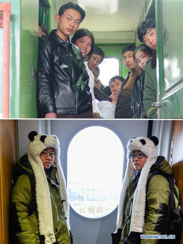 This combo photo shows passengers without seats looking out of a train traveling from Shanghai to Fuyang, as the train pulls into the Nanjing Railway Station in Nanjing, east China\'s Jiangsu Province, Jan. 7, 2004 (top, file photo); and twin brothers Liu Hong (L) and Liu Xiang standing next to the door of the train G118 while travelling from Rizhao, east China\'s Shandong Province to Beijing, capital of China, Jan. 24, 2016 (bottom, photo taken by Li Xiang). (Xinhua)