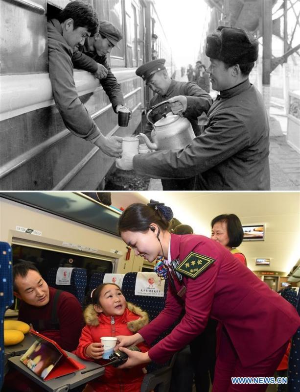 This combo photo shows station staff members offering hot water for train passengers at the Shijiazhuang Railway Station during the Spring Festival travel season in Shijiazhuang, north China\'s Hebei Province in 1984 (top, photo taken by Zhao Liansheng); and train attendant Liao Hui of the Nanchang Railway Bureau offering a cup of water for a young passenger on Feb. 6, 2016 (bottom, photo taken by Jiang Kehong). (Xinhua)