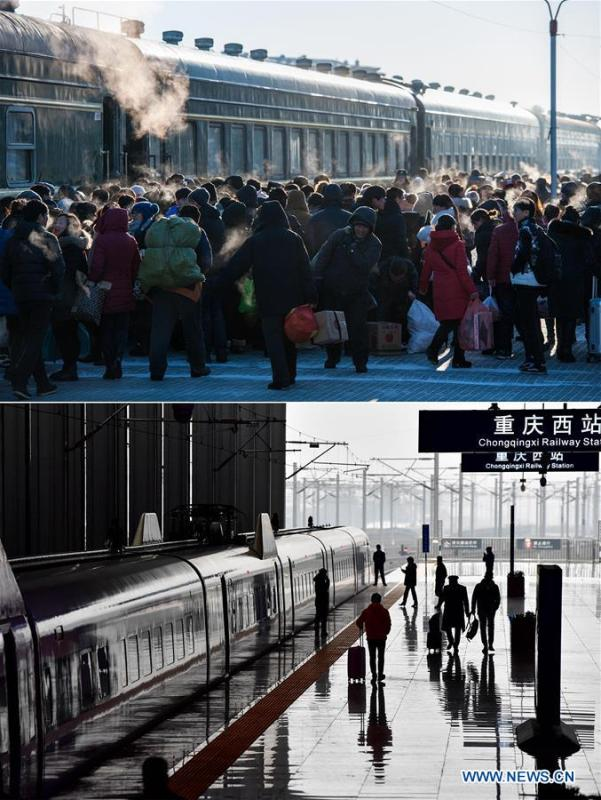 This combo photo shows passengers boarding an old-style green train on a platform at the Genhe Railway Station in Hulun Buir, north China\'s Inner Mongolia Autonomous Region, on Jan. 31, 2016 (top, photo taken by Lian Zhen); and a bullet train which is about to depart from Chongqing West Station in southwest China\'s Chongqing, Feb. 12, 2018 (bottom, photo taken by Liu Chan). (Xinhua)