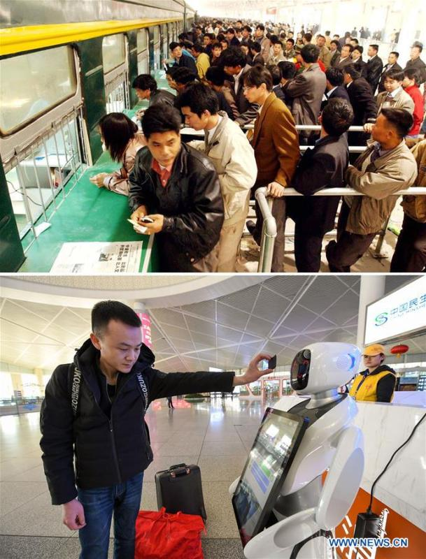 This combo photo shows railway passengers queuing up in front of a make-shift ticket office adapted from train compartments during the Spring Festival travel season in Guangzhou, south China\'s Guangdong Province, Jan. 20, 2003 (top, photo taken by Zhou Wenjie); and a passenger having his ticket scanned by a robot to get train information at the Hohhot East Railway Station during the Spring Festival travel season in Hohhot, north China\'s Inner Mongolia Autonomous Region, Jan. 22, 2019 (bottom, photo taken by Peng Yuan). (Xinhua)